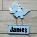 Kids Door Plaque - Dinosaur blue