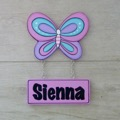 Kids Door Plaque - Butterfly 2 Pastel