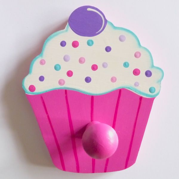 Kids Bedroom Hooks kids coat hook - cupcake- a brush of imagination