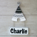Kids Door Plaque -  Tribal Teepee Black and White