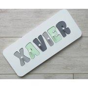 Personalised Name Puzzle - Mint and greys